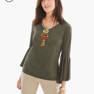 Chicos faux suede bell seeve v neck top